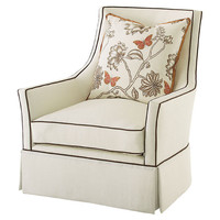 Alcott Linen Swivel Chair, Cream/Brown, Accent & Occasional Chairs