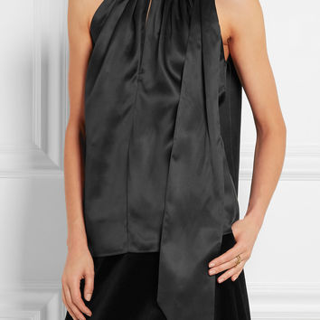 Saint Laurent - Silk-satin halterneck top