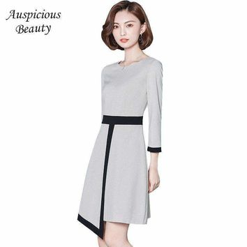 Women Wear To Work Office Business Party Dress 2018 Spring Fashion Elegant Irregular Patchwork Bodycon Sexy Mini Dresses  SXM66