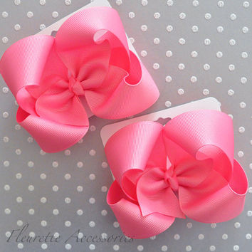 Basic boutique bows, Hot Pink basic bows, Baby hair bow, Boutique hair bow, Hair bows for girls, Pink hair bow, Gift idea, Hot Pink hair bow