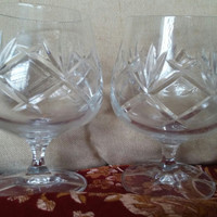A Gorgeous Set of Two Cut Crystal Brandy Snifters with Fan and Diamond Pattern