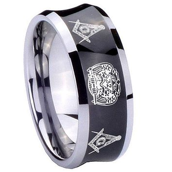 10mm Masonic 32 Design Concave Black Tungsten Carbide Mens Bands Ring