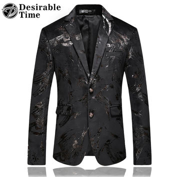 Men Slim Fit Casual Party Blazers Fashion Black Velvet Blazer Jacket Men