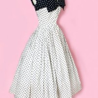 1950's Polka Dot Bow Designer Dress 1950's Polka Dot vintage Dress :