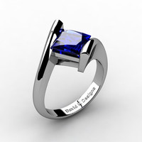 Modern 14K White Gold 2.0 Ct Princess Square Blue Sapphire Kite Setting Engagement Ring R1031-14KWGBS