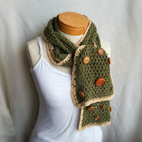 silk crochet scarf with vintage buttons olive and gold