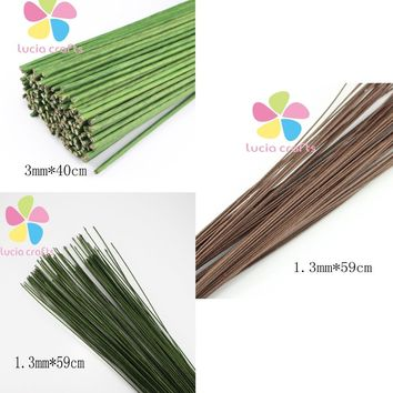 1.3mm 59cm 3mm 40cmLength green color paper pachets with wire artificial flower stem 12pcs lot 086020033