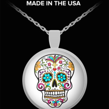 Day of the Dead Pendant Necklace Sugar Skull Mexican Folk Art Dia De Los Muertos