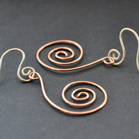 Copper Spiral Earrings Wire Jewelry by GueGueCreations