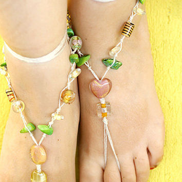 Bead barefoot sandals, Hippie Boho crochet sandals, Beach jewelry , Yoga anklet, beach wedding barefoot sandals