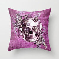 Plum Smoke and roses skull Illustration. Throw Pillow by Kristy Patterson Design