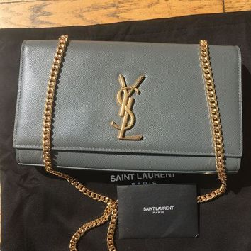 VOND4H Saint Laurant YSL Medium Kate Chain Bag in Gray Leather