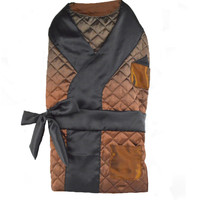 Copper Quilted Smoking Jacket with Black Satin Lapels