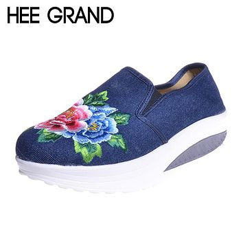 Embroidery Flower Women Swing Shoes Slip-on Hemp Handmade Canvas Shoes National Style Cloth Flats