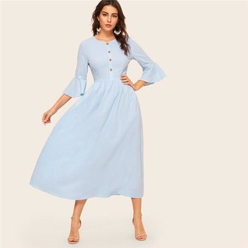 Blue Button Front Flounce Sleeve Fit and Flare Dress Women Solid A Line Dress Abaya Elegant Long Dresses