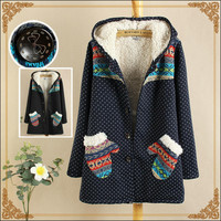 Dot Geometric Print Long-Sleeve Hoodie Button Parka With Gloves Packet