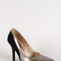 Qupid Metallic Pinstripe Pointy Toe Pump