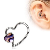 316L Stainless Steel Abalone Shell Heart Annealed WildKlass Cartilage Earring