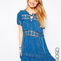 ASOS TALL Premium Denim Smock Dress With Crochet Insert