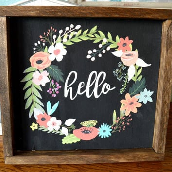 Hand Painted Wood Sign, Floral Wreath Sign, Rustic Wood Wall Decor, Hello Sign, Hand Painted Flowers, Gallery Wall Sign, Large Wood Sign
