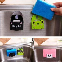Carton Dish Cloth Sponge Holder With Suction Kitchen Rack Cup Home Decor Dinning Room organizer mutfak prateleira hanger
