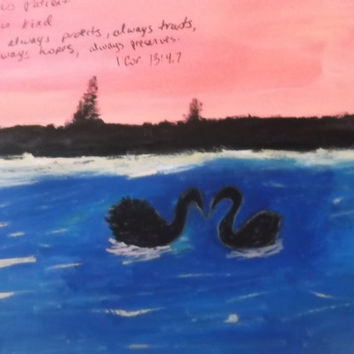 Love is Patient Love is Kind Swan Silhouette Sunset Acrylic Original Painting
