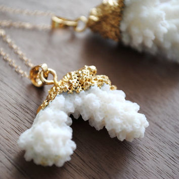 """Coral Reef Gold Plated Necklace - 24k Gold Plating with 24"""" 14k Delicate Gold Filled Chain"""