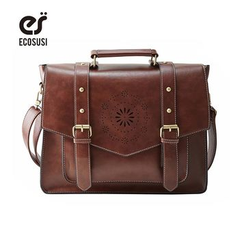 "ECOSUSI Retro Faux Leather 14.7"" Laptop Crossbody Briefacase Messenger Bags Women Satchel Bags For School School Shoulder Bags"