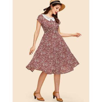 Multicolor Contrast Lace Collar Ditsy Fit Flare Dress