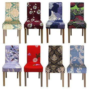 4/5/6 Pieces printing Chair Cover Spandex seat Chair Covers Dining banquet home hotel weddings christmas decorations for gift