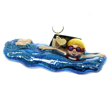 Old World Christmas SWIMMING Glass Goggles Water Beach 44130