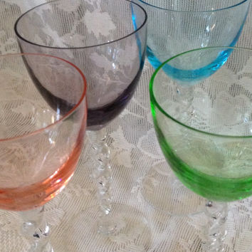 Vintage Colored Crystal Cordials 4  Hand Blown Applied Twisted Stems Artisan Optic Glassware