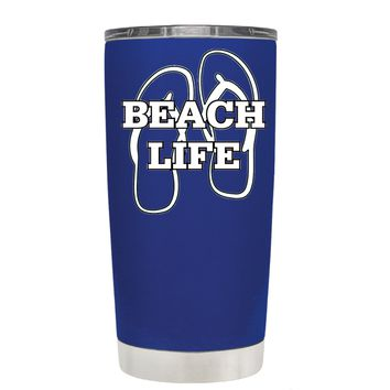 The Beach Life Sandals on Blue 20 oz Tumbler Cup