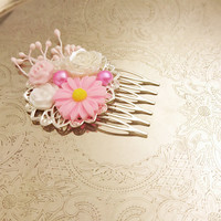 Handmade wedding hair comb clip resin flowers roses vintage pink white wedding prom accessory hair piece bride