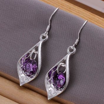 wholesale silver plated earrings,925 fashion Silver jewelry purple stone drop Earrings for women SE207