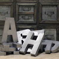 "8"" or 12"" Industrial Faux Zinc Metal Letters"