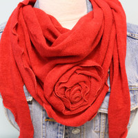 RED self rose super soft and cuddly velour-like knit  triangle knit scarf  by Catherine Cole Studio womens scarves