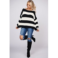Happy Being Me Striped Sweater (Black/Ivory)