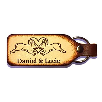 Rabbit Couple Engraved Leather Keychain with Free Customization