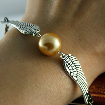 Golden Snitch Bracelet In Silver- Steampunk Harry Potter Golden Snitch Keepsake--On Sale