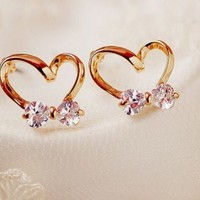 Bowed Heart Rhinestone Fashion Earrings | LilyFair Jewelry