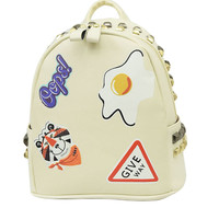 White Poached Egg And Tiger Head Print Stud Detail Backpack