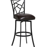 "Homestead 26"" swivel barstool finished in Phantom metal and upholstered in Melvin Chocolate"