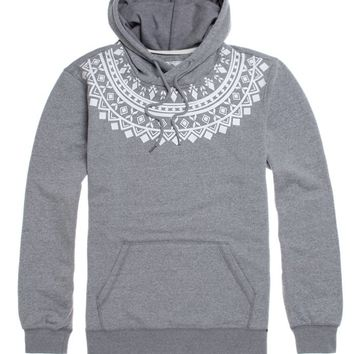 On The Byas Rowe Neck Print Hoodie - Mens Hoodies - Gray