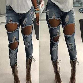 Fashion Big Hole Ripped Jeans Woman Skinny High Waisted Jeans Women Destroyed Begger Denim Pants For Women