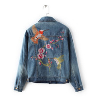 Vintage Blue Pockets Flower Embroidery Denim Jacket   Women Buttons Back Bird Embroidery Loose Coat Femme Jean Outerwear