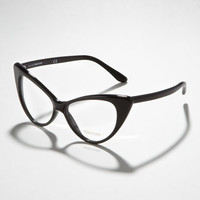 Cat-Eye Fashion Glasses, Shiny Black