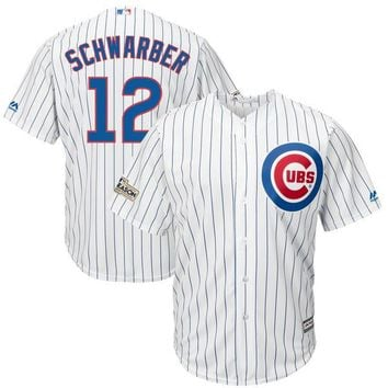 Men's Chicago Cubs Kyle Schwarber Majestic White 2017 Postseason Cool Base Player Jersey