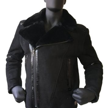Sheepskin Jacket With Patent Leather Style #5900L MENS