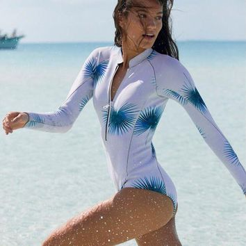 Fashion Ladies Blue Leaf Print Chest Zipper Long Sleeve Prevent Bask In Hot Springs Surfing Diving Suit One Piece Bikini Swimwear Bathing